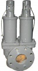 Клапан предохранительный угловой сдвоенный DN125, DN150 PN16